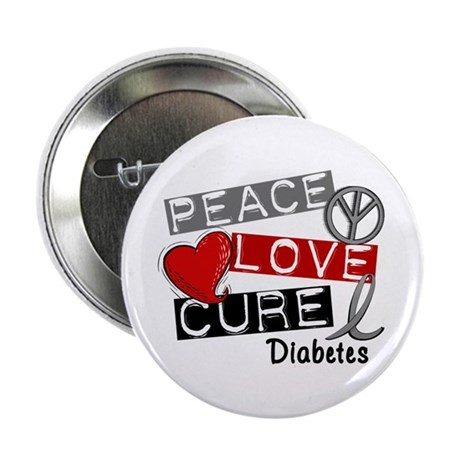 "Peace Love Cure Diabetes 2.25"" Button (100 pack)"