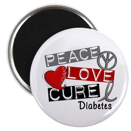 """Peace Love Cure Diabetes 2.25"""" Magnet (100 pack)"""
