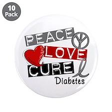 """Peace Love Cure Diabetes 3.5"""" Button (10 pack)"""