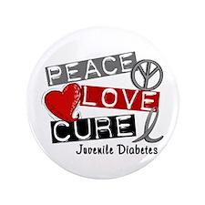 """PEACE LOVE CURE Juv Diabetes (L1) 3.5"""" Button"""