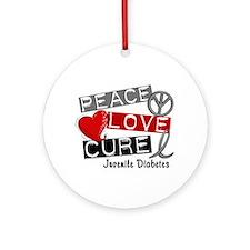 PEACE LOVE CURE Juv Diabetes (L1) Ornament (Round)