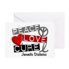 PEACE LOVE CURE Juv Diabetes (L1) Greeting Card