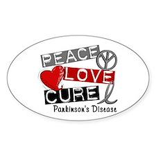 PEACE LOVE CURE Parkinsons (L1) Oval Decal