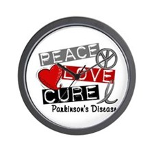 PEACE LOVE CURE Parkinsons (L1) Wall Clock