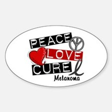 PEACE LOVE CURE Melanoma (L1) Oval Decal