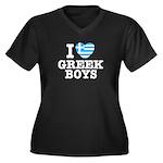 I Love Greek Boys Women's Plus Size V-Neck Dark T-