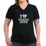 I Love Greek Boys Women's V-Neck Dark T-Shirt