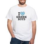 I Love Greek Boys White T-Shirt