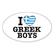 I Love Greek Boys Oval Decal