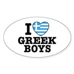 I Love Greek Boys Oval Sticker