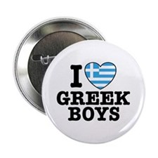 I Love Greek Boys Button