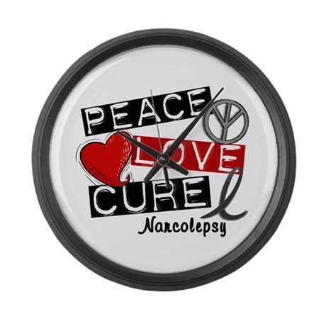 PEACE LOVE CURE Narcolepsy (L1) Large Wall Clock