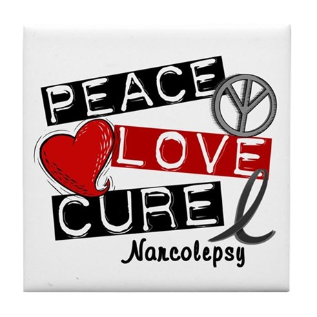 PEACE LOVE CURE Narcolepsy (L1) Tile Coaster