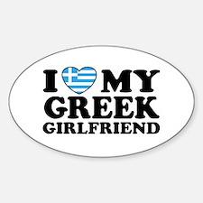 I love My Greek Girlfriend Oval Decal