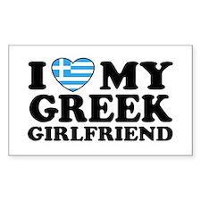 I love My Greek Girlfriend Rectangle Decal