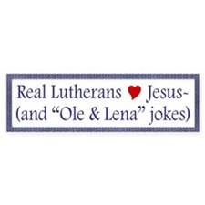 Jesus and Ole and Lena Jokes Bumper Car Sticker