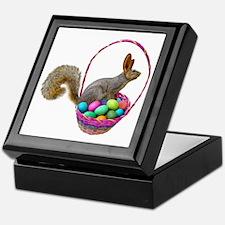 Easter Squirrel in Basket Keepsake Box