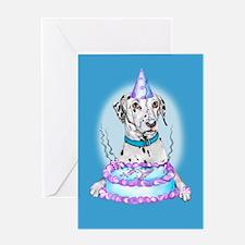 Dalmatian Cake Face Birthday Greeting Card