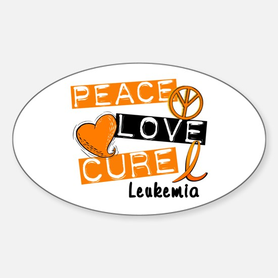 PEACE LOVE CURE Leukemia (L1) Oval Decal