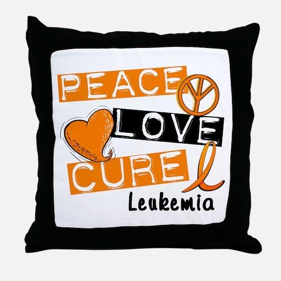 PEACE LOVE CURE Leukemia (L1) Throw Pillow