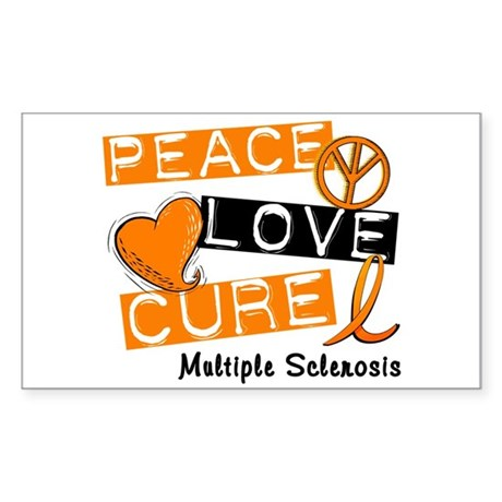 PEACE LOVE CURE MS Rectangle Sticker
