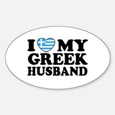 I love My Greek Husband Oval Decal