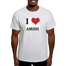 I Love Amish Ash Grey T-Shirt