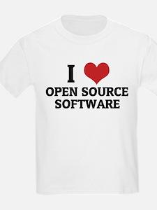 I Love Open Source Software Kids T-Shirt