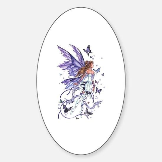 Purple Butterfly Fairy Oval Decal