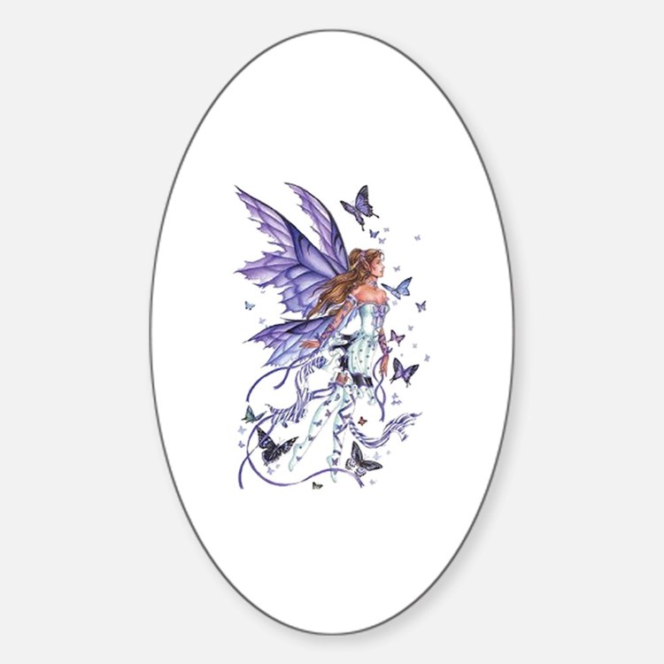 Purple Butterfly Fairy Oval Decal