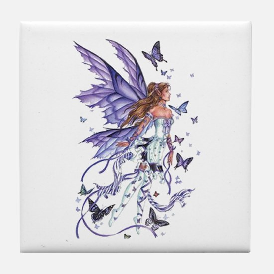 Purple Butterfly Fairy Tile Coaster