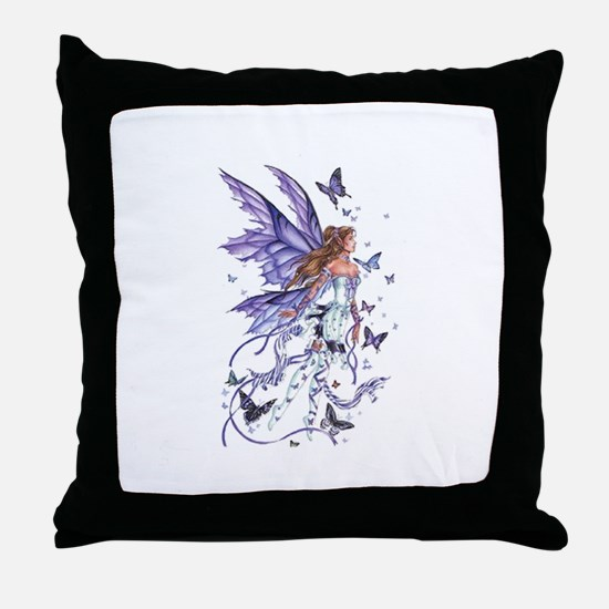 Purple Butterfly Fairy Throw Pillow