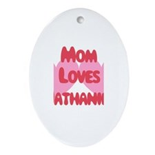 Mom Loves Nathaniel Oval Ornament