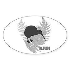 Silver Fern Kiwi Oval Decal