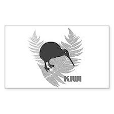 Silver Fern Kiwi Rectangle Decal