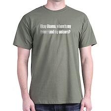 Obama Where's My Money & Unicorn T-Shirt