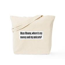 Obama Where's My Money & Unicorn Tote Bag