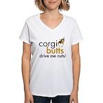 Corgi Butts Drive Me Nuts Sable Women's V-Neck T-S