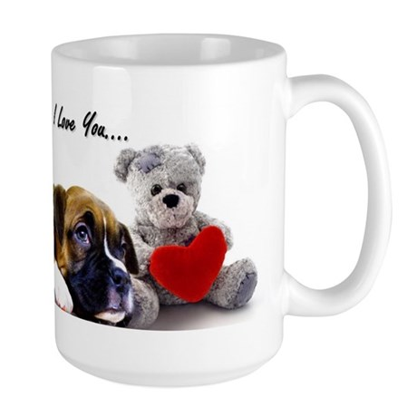 I Love You Boxer puppy Large Mug