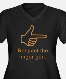 Respect The Finger Gun Women's Plus Size V-Neck Da