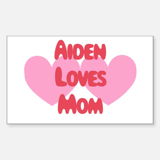 Aiden Loves Mom Rectangle Decal