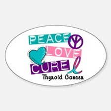PEACE LOVE CURE Thyroid Cancer (L1) Oval Decal