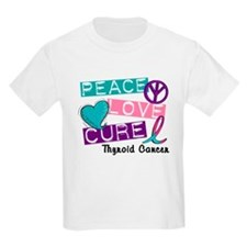 PEACE LOVE CURE Thyroid Cancer (L1) T-Shirt