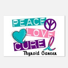 PEACE LOVE CURE Thyroid Cancer (L1) Postcards (Pac