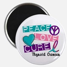 "PEACE LOVE CURE Thyroid Cancer (L1) 2.25"" Magnet ("