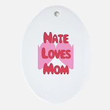 Nate Loves Mom Oval Ornament