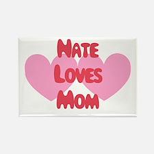 Nate Loves Mom Rectangle Magnet