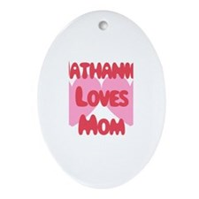 Nathaniel Loves Mom Oval Ornament