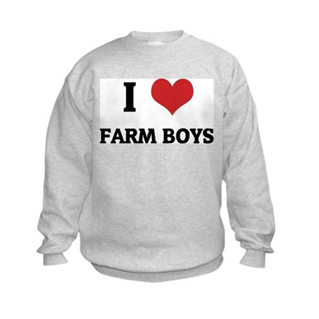 I Love Farm Boys Kids Sweatshirt