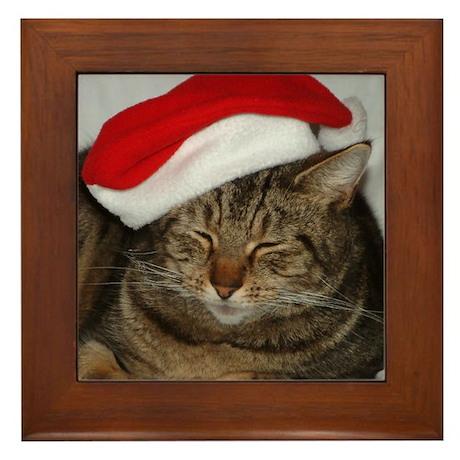 Christmas Cat Framed Tile